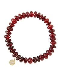 Sydney Evan - 8Mm Faceted Garnet Beaded Bracelet With 14K Yellow Gold/Diamond Small Disc Charm (Made To Order) - Lyst