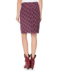 Isabel Marant - Blue Floral-print Draped Silk Skirt - Lyst
