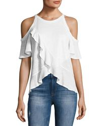 A.L.C. | White Anya Linen Cold-shoulder Tee | Lyst