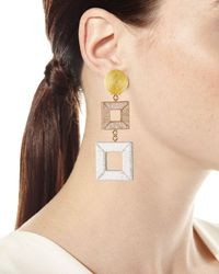 Oscar de la Renta Metallic Wrapped Double-square Drop Earrings
