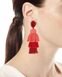 Oscar de la Renta - Long Silk Tiered Tassel Clip-on Earrings - Lyst