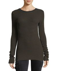 Vince | Black Railroad-stripe Long-sleeve Crewneck Tee | Lyst