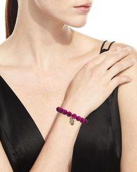 Sydney Evan - Purple 10mm Beaded Berry Jade Bracelet With Diamond & Ruby Hamsa Charm - Lyst