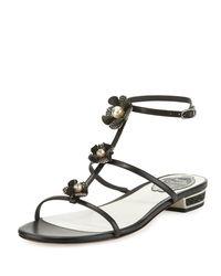 Rene Caovilla - Black Embellished Leather T-strap Sandal - Lyst