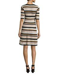 M Missoni - Pink Half-sleeve Lace Ribbon Fit-&-flare Dress - Lyst