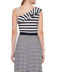 Akris Punto - Blue Striped Ruffled One-shoulder Top - Lyst
