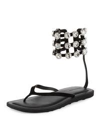 Alexander Wang | Black Aubrey Crystal Caged Thong Sandal | Lyst