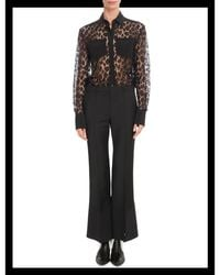 Givenchy - Black Leopard Mesh Two-pocket Blouse - Lyst