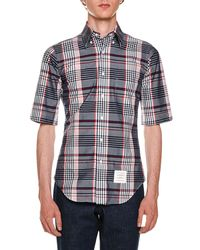 Thom Browne - Blue Classic Madras Check Poplin Shirt for Men - Lyst