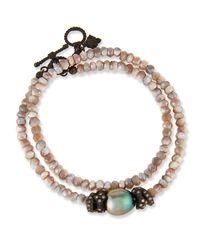 Armenta - Metallic Old World Mystic Moonstone & Pearl Bracelet With Champagne Diamonds - Lyst