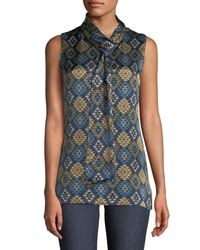 Lafayette 148 New York - Blue Abbie Aztec Artistry Silk Blouse W/ Self-tie Neck - Lyst