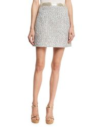 Marc Jacobs - White Beaded-waist Tweed Skirt - Lyst