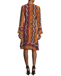 Etro - Orange Snake-print Bell Sleeve Silk Dress - Lyst