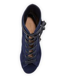 Gianvito Rossi Blue Fraser Suede Open-toe Lace-up Bootie