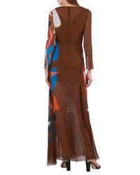 Akris - Brown Masonite-print Silk Crepe Gown - Lyst