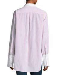 Rag & Bone | Blue Essex Striped Shirt With Contrast Trim | Lyst