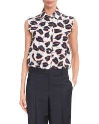 Givenchy - Blue Button-down Sleeveless Lily Floral-print Silk Blouse - Lyst