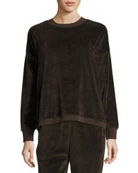 Vince | Brown Velour Long-sleeve Pullover Top | Lyst