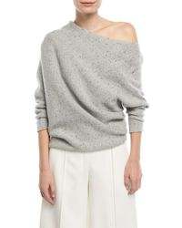 Narciso Rodriguez - Gray Knit One-shoulder Speckled Wool/cashmere Top - Lyst