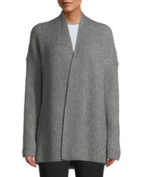 Vince - Gray Ribbed Open-front Yak-wool Cardigan - Lyst