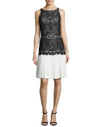 Oscar de la Renta - White Sleeveless Lace Chiffon Combo Dress - Lyst