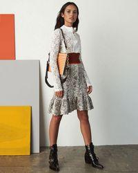 Chloé Multicolor Python Jacquard Knit And Lace Long-sleeve Dress