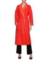 Giorgio Armani - Red Double Face Two Tone Coat - Lyst
