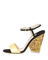 Edie Parker Metallic Parker Tie-front Glitter-heel Sandal