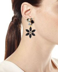 Oscar de la Renta - Multicolor Crystal Flower Clip-on Earrings - Lyst