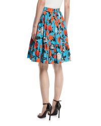 MSGM - Blue Floral-print Ruffled Poplin Skirt - Lyst
