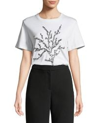 Oscar de la Renta White Crewneck Short-sleeve Sequin-embroidered T-shirt