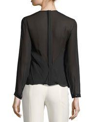 Giorgio Armani - Black Pleated Georgette Long-sleeve Top - Lyst