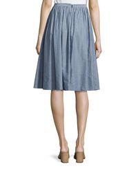 Vince - Blue Pencil-stripe Shirred Full Skirt - Lyst