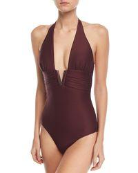 Heidi Klein - Purple Monaco Plunging Halter V-bar One-piece Swimsuit - Lyst