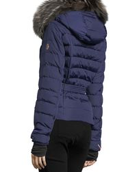 Moncler - Blue Beverly Fox Fur Trim Hooded Coat - Lyst