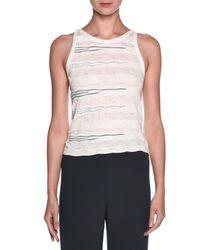 Giorgio Armani - White Sleeveless Textured Knit Top - Lyst