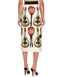 Dolce & Gabbana - Natural Guitar-embroidered Midi Skirt - Lyst