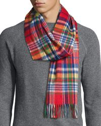 Begg & Co - Red Langley Plaid Lambswool-angora Scarf for Men - Lyst