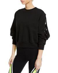 No Ka 'oi Black Ike Cropped Side-stripe Pullover Sweatshirt