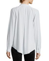 Equipment Gray Liana Long-sleeve Pleated-front Silk Blouse