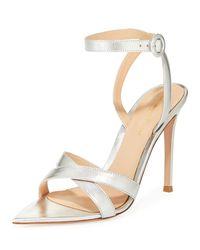 Gianvito Rossi Gray Metallic Crisscross Strappy Sandals