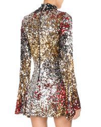 Halpern Multicolor Mock-neck Sequined Mini Cocktail Dress