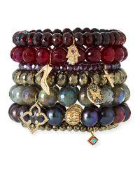 Sydney Evan - Purple Mystic Rhodolite Garnet Beaded Bracelet With Diamond Cross Charm - Lyst