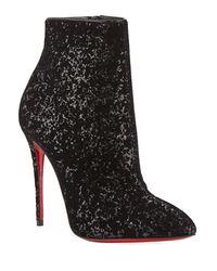 Christian Louboutin Black Eloise Glitter Velvet Red Sole Booties