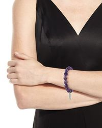 Sydney Evan   Purple 10mm Amethyst Beaded Bracelet With Diamond Wing Charm   Lyst