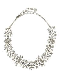 Oscar de la Renta - Metallic Crystal Baguette Leaf Necklace - Lyst