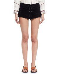 Étoile Isabel Marant - Black Danton Suede Tie-front Shorts - Lyst