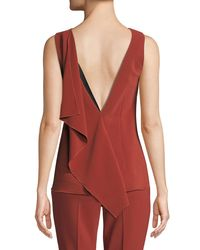 Rosetta Getty Red Low-back Draped Stretch Cady Top