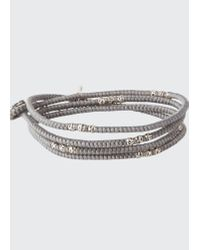 M. Cohen Gray Men's Knotted Wrap Bracelet With Silver Beads