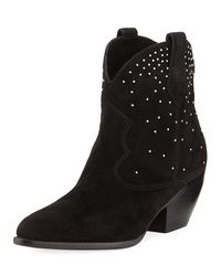 Sigerson Morrison - Black Suede Boots With Stud Detail - Lyst